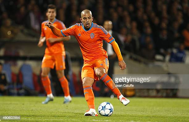 Sofiane Feghouli of Valencia CF in action during the UEFA Champions league match between Olympic Lyonnais and Valencia CF at Stade de Gerland on...
