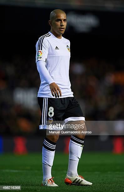 Sofiane Feghouli of Valencia looks on during the La Liga match between Valencia CF and UD Las Palmas at Estadi de Mestalla on November 21 2015 in...