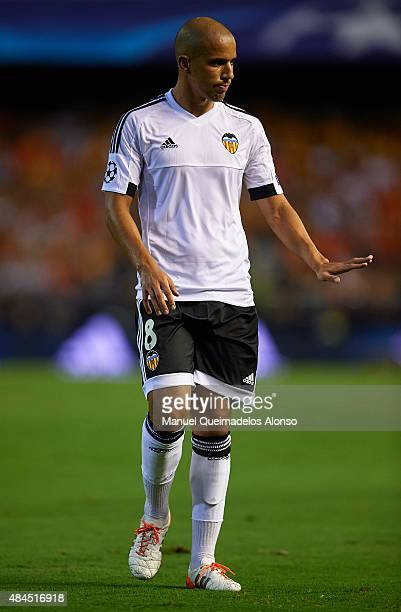 Sofiane Feghouli of Valencia reacts during the UEFA Champions League Qualifying Round Play Off First Leg match between Valencia CF and AS Monaco at...