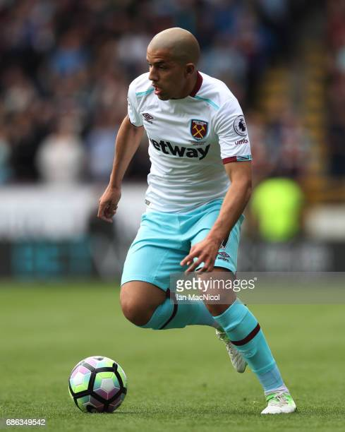 Sofiane Feghouli of West Ham United controls the ball during the Premier League match between Burnley and West Ham United at Turf Moor on May 21 2017...