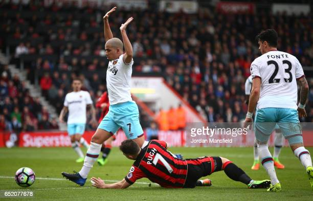 Sofiane Feghouli of West Ham United fouls Marc Pugh of AFC Bournemouth and a second penalty is awarded to AFC Bournemouth during the Premier League...