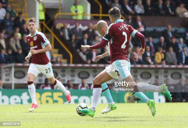 Sofiane Feghouli of West Ham United runs through to score during the Premier League match between Burnley and West Ham United at Turf Moor on May 21...