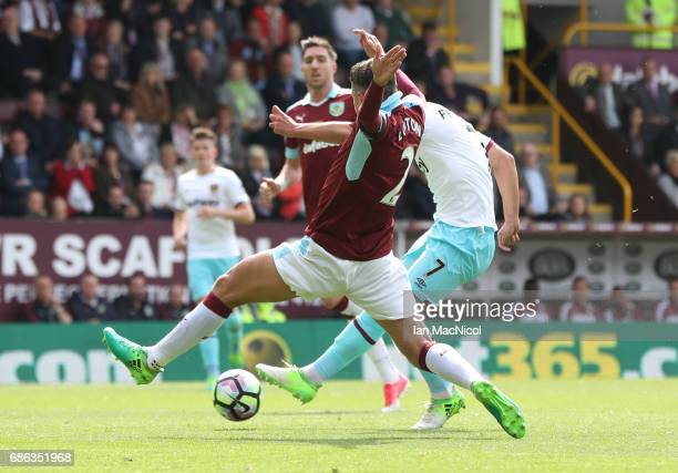 Sofiane Feghouli of West Ham United scores during the Premier League match between Burnley and West Ham United at Turf Moor on May 21 2017 in Burnley...