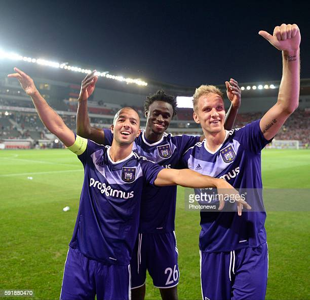 Sofiane Hanni midfielder of RSC Anderlecht and Idrissa Sylla forward of RSC Anderlecht with Lukas Teodorczyk forward of RSC Anderlecht celebrate the...