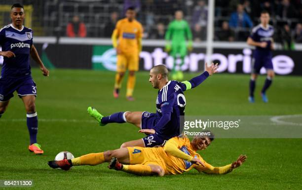 Sofiane Hanni midfielder of RSC Anderlecht and Kostakis Artymatas of Apoel pictured during the match between Rsc Anderlecht and Apoel Nicosia UEFA...