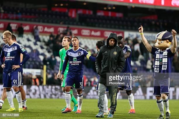 Sofiane Hanni midfielder of RSC Anderlecht and Youri Tielemans midfielder of RSC Anderlecht pictured during the Jupiler Pro League match between RSC...