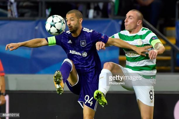 Sofiane Hanni midfielder of RSC Anderlecht battles for the ball with Scott Brown midfielder of Celtic FC during the Champions League Group B match...