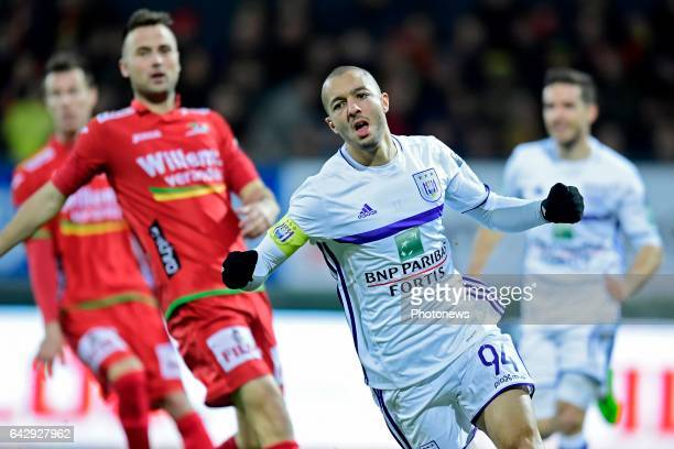 Sofiane Hanni midfielder of RSC Anderlecht celebrates scoring the opening goal during the Jupiler Pro League match between KV Oostende and RSC...