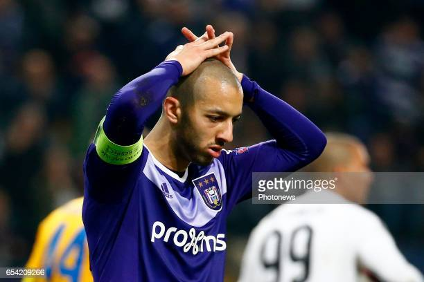 Sofiane Hanni midfielder of RSC Anderlecht during the match between Rsc Anderlecht and Apoel Nicosia UEFA Europa League Round of 16 second Leg in...