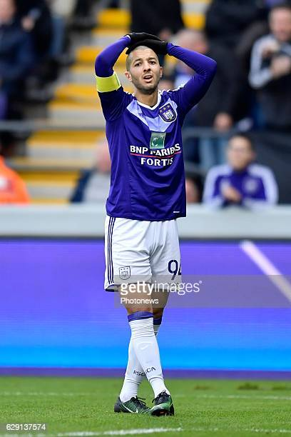 Sofiane Hanni midfielder of RSC Anderlecht looks dejected after missing an opportunity during the Jupiler Pro League match between RSC Anderlecht and...