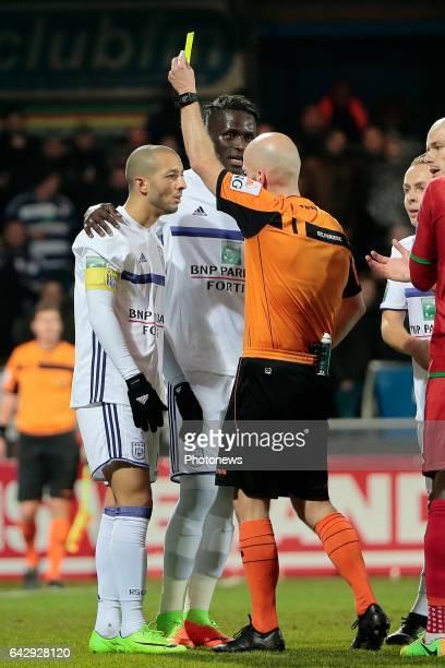 Sofiane Hanni midfielder of RSC Anderlecht receives a yellow card of referee Sebastien Delferiere during the Jupiler Pro League match between KV...