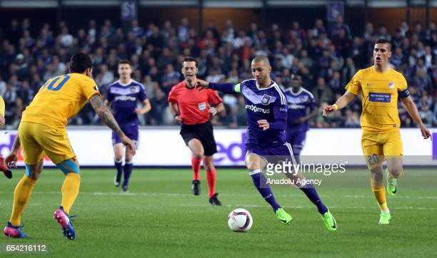 Sofiane Hanni of Anderlecht in action during the UEFA Europa League round of 16 soccer match between Anderlecht and Apoel Nicosia at Constant Vanden...