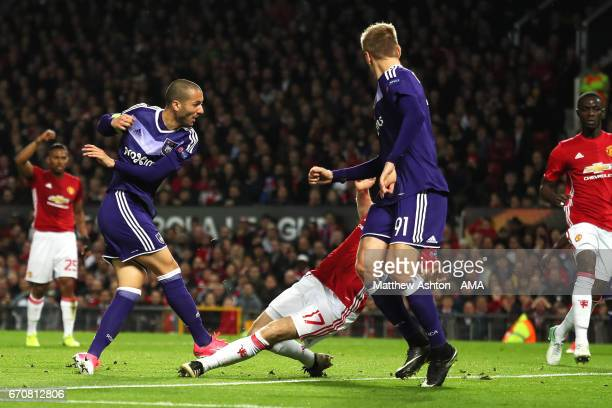 Sofiane Hanni of Anderlecht scores his team's first goal to make the score 11 during the UEFA Europa League quarter final second leg match between...