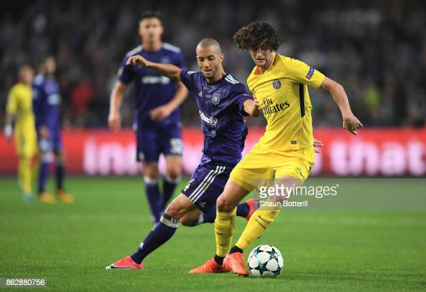 Sofiane Hanni of RSC Anderlecht and Adrien Rabiot of PSG during the UEFA Champions League group B match between RSC Anderlecht and Paris SaintGermain...