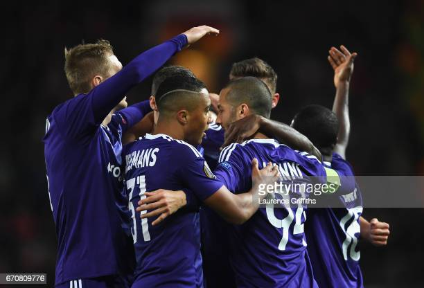 Sofiane Hanni of RSC Anderlecht celebrates as he scores their first goal with team mates during the UEFA Europa League quarter final second leg match...