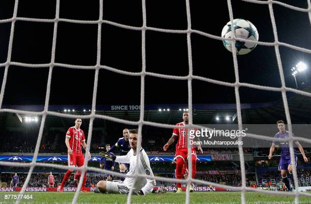 Sofiane Hanni of RSC Anderlecht scores his team's opening goal past Sven Ulreich of Bayern Muenchen during the UEFA Champions League group B match...