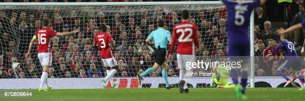 Sofiane Hanni of RSC Anderlecht scores their first goal during the UEFA Europa League quarter final second leg match between Manchester United and...