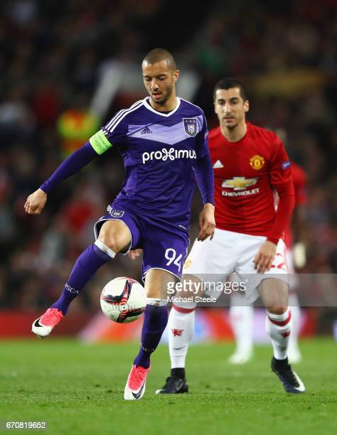 Sofiane Hanni of RSC Anderlecht shields the ball from Henrikh Mkhitaryan of Manchester United during the UEFA Europa League quarter final second leg...