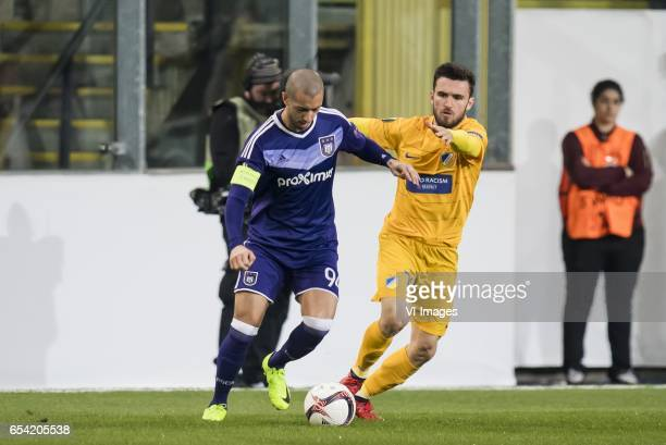 Sofiane Hanni of RSC Anderlecht Yannis Gianniotas of Apoel FCduring the UEFA Europa League round of 16 match between RSC Anderlecht and APOEL on...