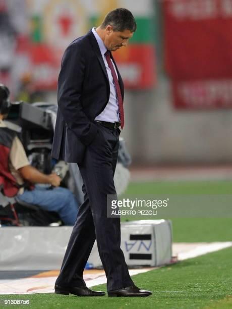 Sofia's coach Lyuboslav Mladenov Penev looks down during group E of UEFA Europa League coup football match AS Roma vs CSKA Sofia at Olympic stadium...