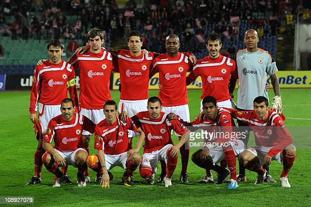Sofia's team players pose before their UEFA Europa League group L football match against Rapid Vienna in Sofia on October 21 2010 AFP PHOTO / DIMITAR...