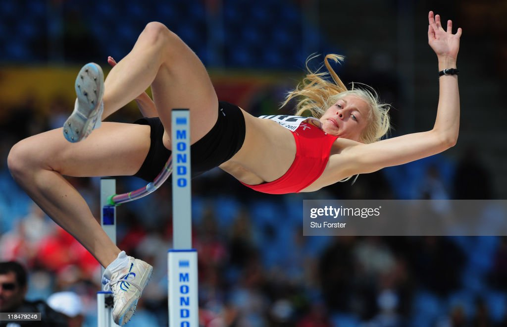 Sofie Albrechtsen of Denmark in action during the Girls Heptathlon high jump competition during day three of the IAAF World Youth Championships at Lille Metropole stadium on July 8, 2011 in Lille, France.