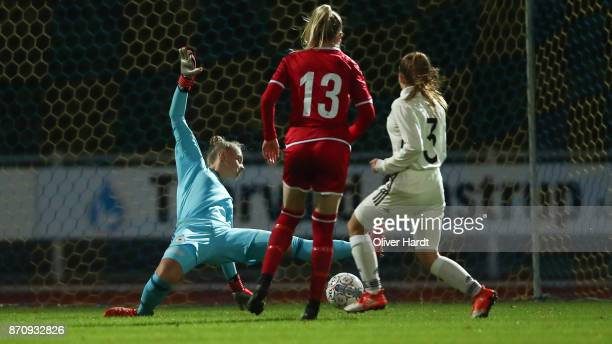 Sofie Hornemann of Denmark scores her first goal during the U16 Girls international friendly match betwwen Denmark and Germany at the Skive Stadion...