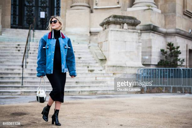 Sofie Valkiers is seen in the streets of Paris before the Chanel show during Paris Fashion Week Womenswear Fall/Winter 2017/2018 on March 7 2017 in...