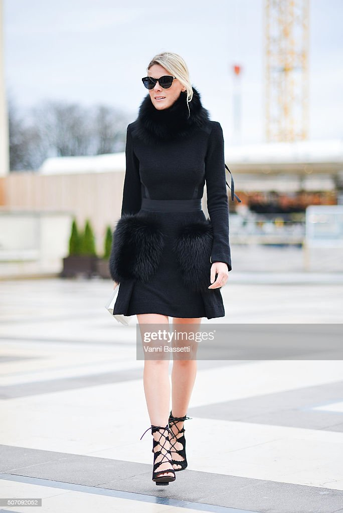 Sofie Valkiers poses before the Elie Saab show at the Theatre National de Chaillot during Haute Couture Spring Summer 16 on January 27 2016 in Paris...