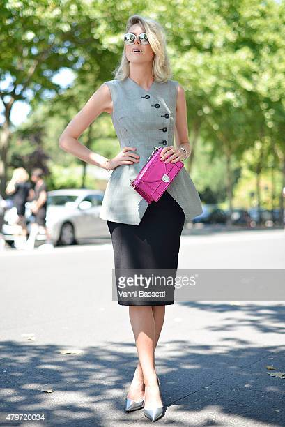 Sofie Valkiers poses wearing a Dior total look before the Dior Couture show at the Musee Rodin on July 6 2015 in Paris France