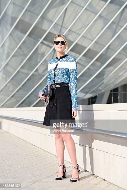 Sofie Valkiers poses wearing a Louis Vuitton total look on Day 9 of Paris Fashion Week Womenswear FW15 on March 11 2015 in Paris France
