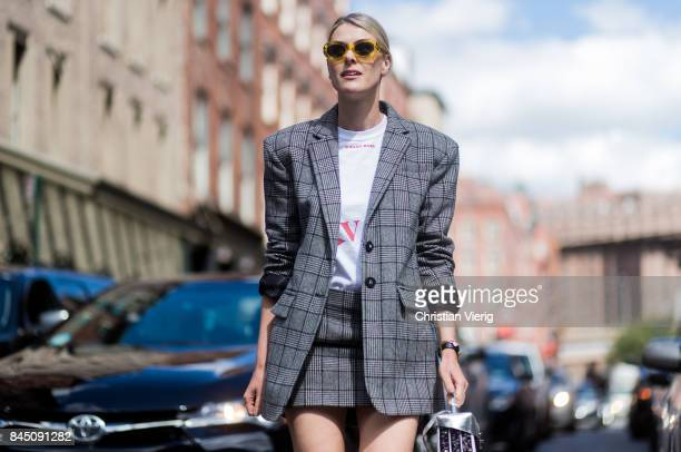 Sofie Valkiers wearing checked grey blazer seen in the streets of Manhattan outside Tibi during New York Fashion Week on September 9 2017 in New York...