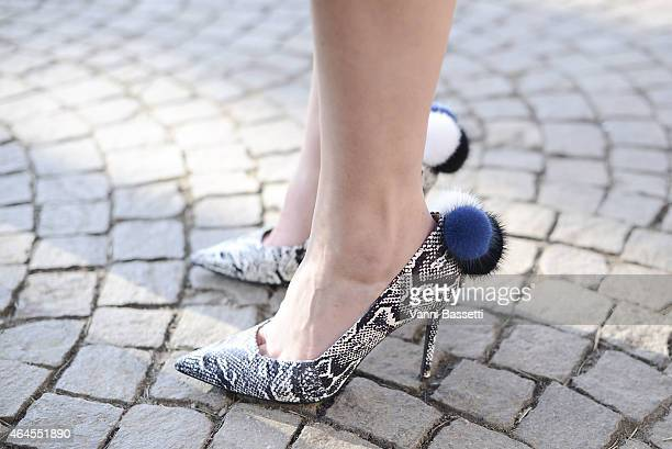 Sofie Valkiers wears Aperlai shoes on February 26 2015 in Milan Italy