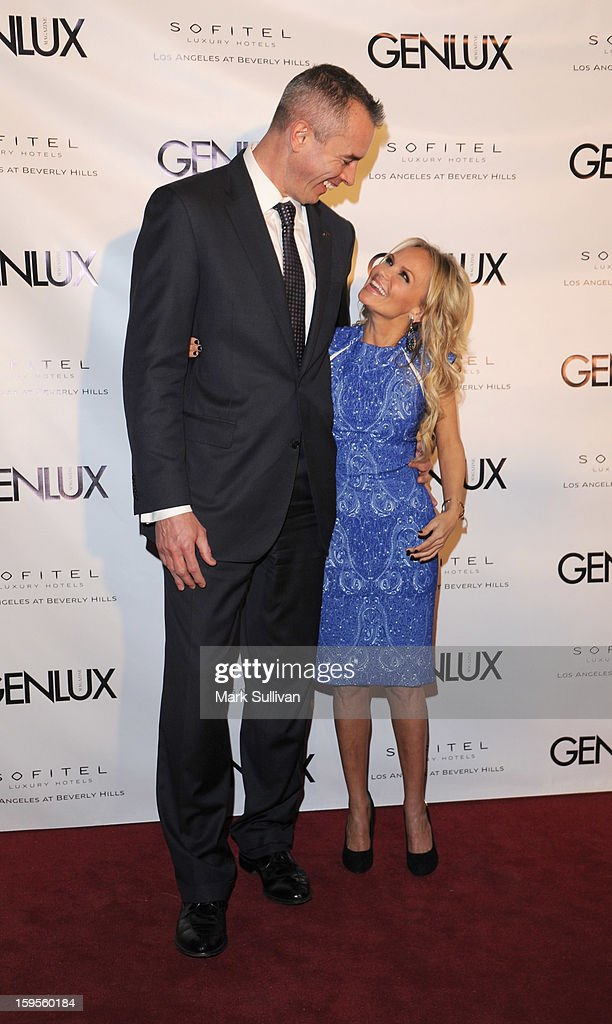 Sofitel general manager Eric Lemaire (L) and actress Kristin Chenoweth arrive for the opening of Riviera 31 At Sofitel Los Angeles on January 15, 2013 in Los Angeles, California.