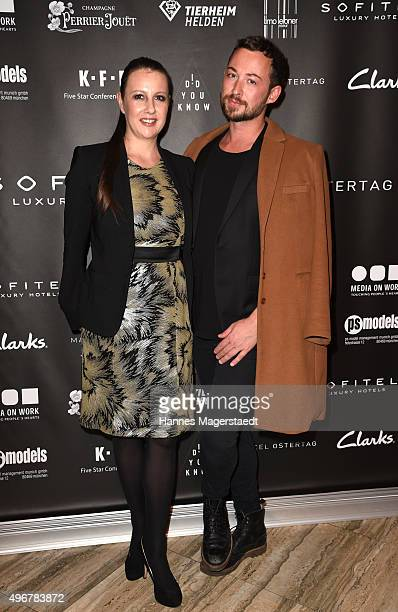 Sofitel Hotel manager Katja Herrmann and fashion designer Marcel Ostertag attend the 'Marcel Ostertag Charity Fashion Show 2015' at Sofitel Munich...