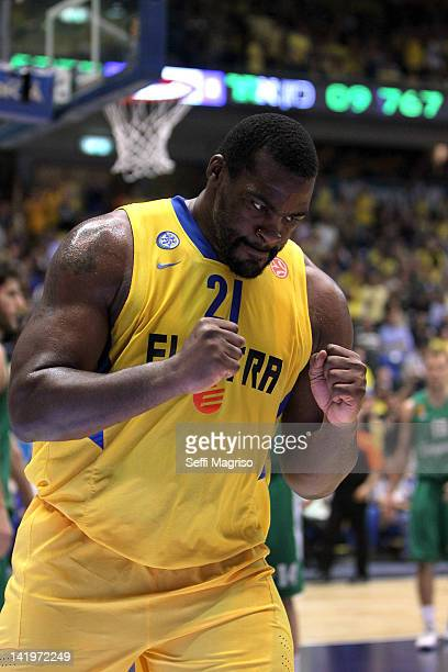 Sofoklis Schortsanitis #21 of Maccabi Electra Tel Aviv celebrates during the Turkish Airlines Euroleague Play Off C Game Day 3 between Maccabi...
