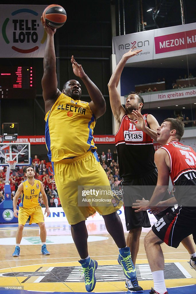 Sofoklis Schortsanitis, #21 of Maccabi Electra Tel Aviv in action during the 2013-2014 Turkish Airlines Euroleague Regular Season Date 4 game between Lietuvos Rytas Vilnius v Maccabi Electra Tel Aviv at Siemens Arena on November 7, 2013 in Vilnius, Lithuania.
