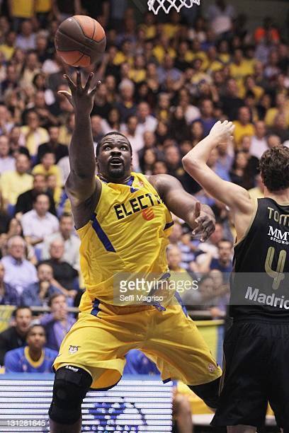 Sofoklis Schortsanitis #21 of Maccabi Electra Tel Aviv reaches for the ball during the 20112012 Turkish Airlines Euroleague Regular Season Game Day 3...