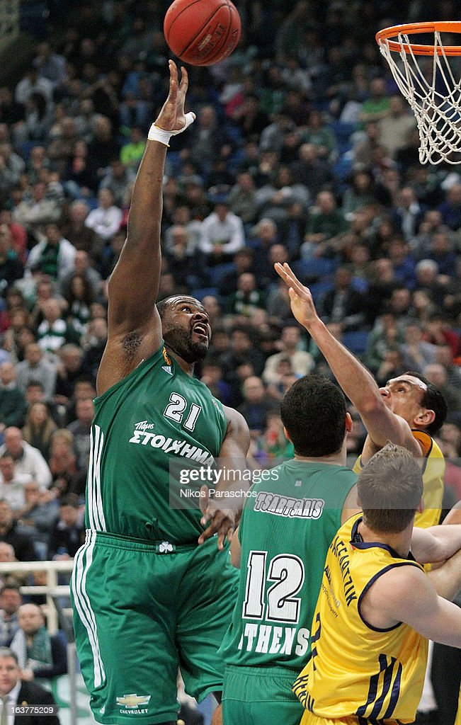 Sofoklis Schortsanitis, #21 of Panathinaikos Athens in action during the 2012-2013 Turkish Airlines Euroleague Top 16 Date 11 between Panathinaikos Athens v Alba Berlin at OAKA on March 15, 2013 in Athens, Greece.