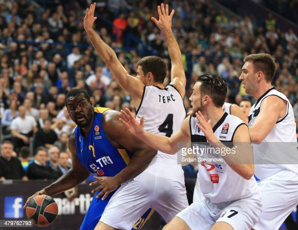Sofoklis Schortsanitis of Maccabi Electra Tel Aviv in action against Milenko Tepic and Joffrey Lauvergne of Partizan Belgrade during the 20132014...