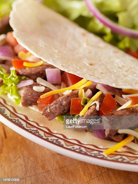 Soft Beef Taco with a Side Salad