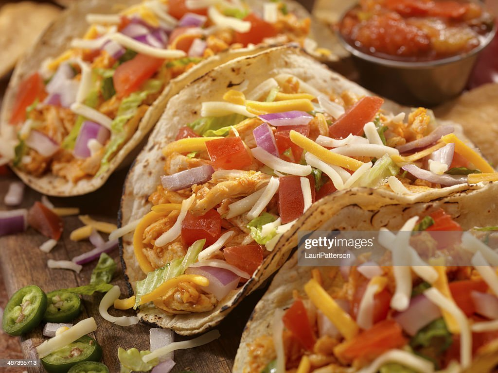 Soft Chicken Tacos : Stock Photo