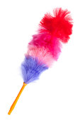 Soft colorful duster with plastic handle on a white background