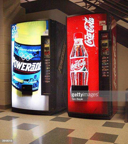 A soft drink vending machine and one featuring sports drinks are shown at a health facility January 6 2004 in Des Plaines Illinois The American...