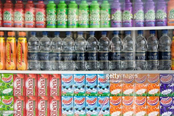 Soft drinks for sale on Brighton beach resort South Coast of England United Kingdom