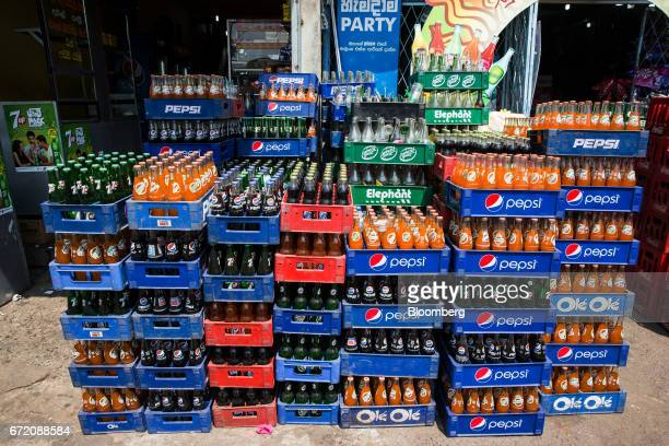 Soft drinks sit in crates in the Pettah neighborhood of Colombo Sri Lanka on Thursday April 20 2017 The Central Bank of Sri Lanka is scheduled to...