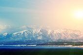 soft focus snow mountain with sunset in Hakodate, Hokkaido in Japan