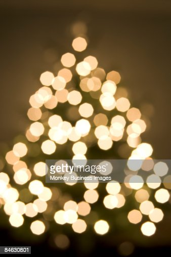 Soft Focus View Of Christmas Tree And Lights : Stock Photo