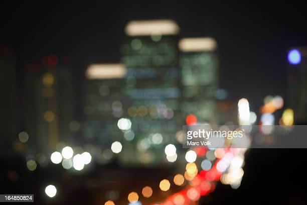 A soft focus view of Jakarta at night, Indonesia