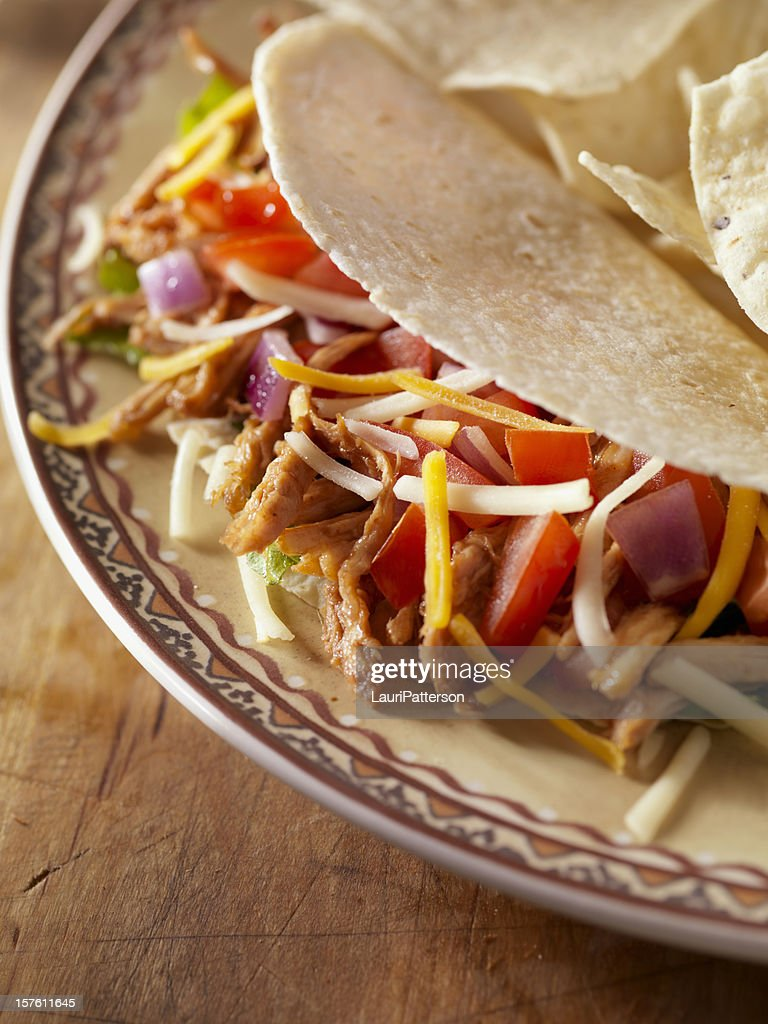 Soft Meat Taco with Tortilla Chips : Stock Photo